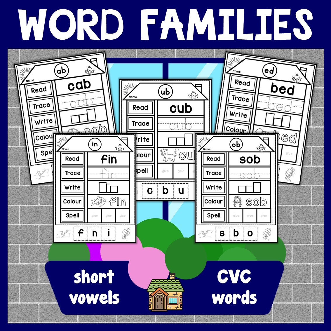 Cvc Words Families Activity Worksheets