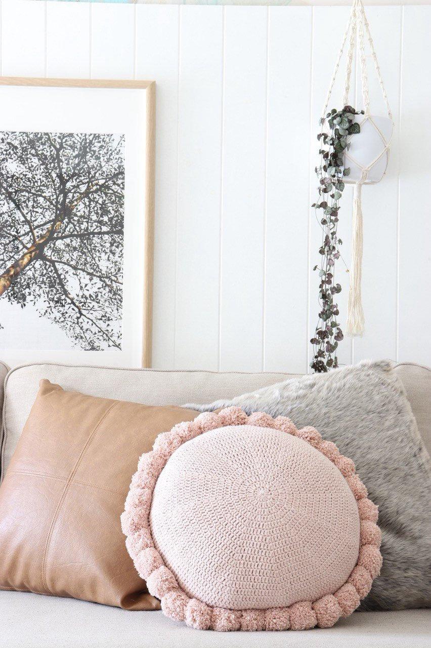 round pom pom cotton cushion blush pink cedar and sno