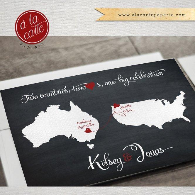 Destination Wedding Invitation Chalkboard Style 2 Countries