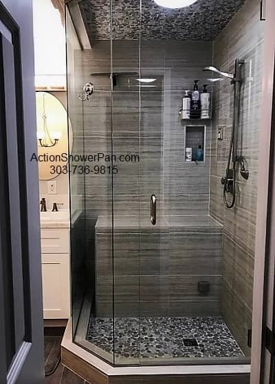 action shower pan steam shower company