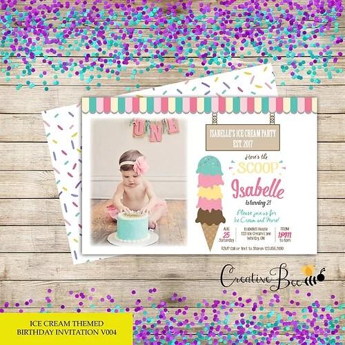 ice cream themed birthday invitation with photo store