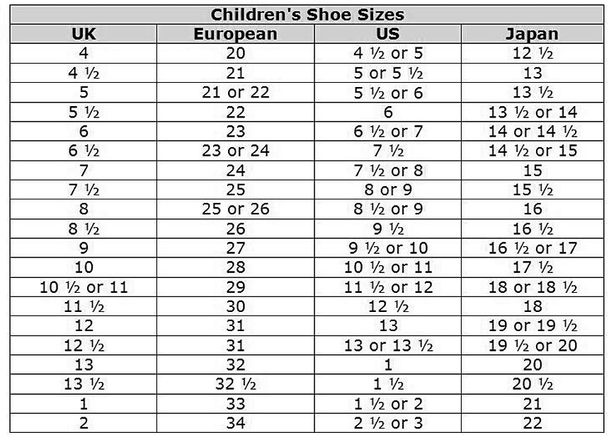 Mens Size Conversion Grade School