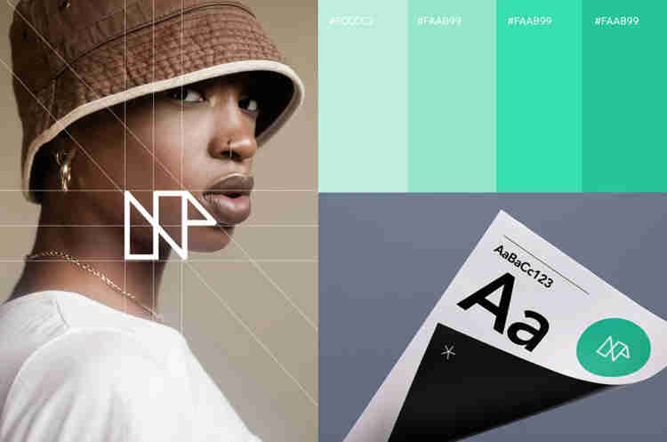 elements of visual identity including colors, typography, photography and logo