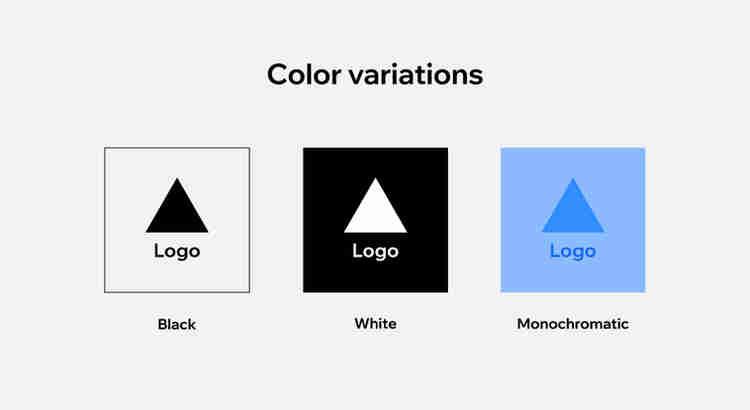 logo color variations, black, white, monochromatic