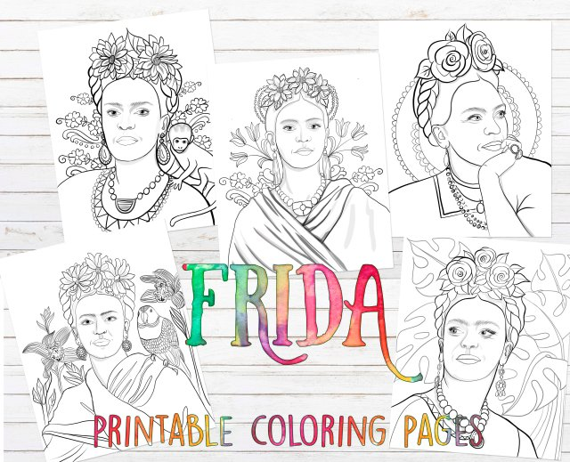 Five different Frida Kahlo printable coloring pages