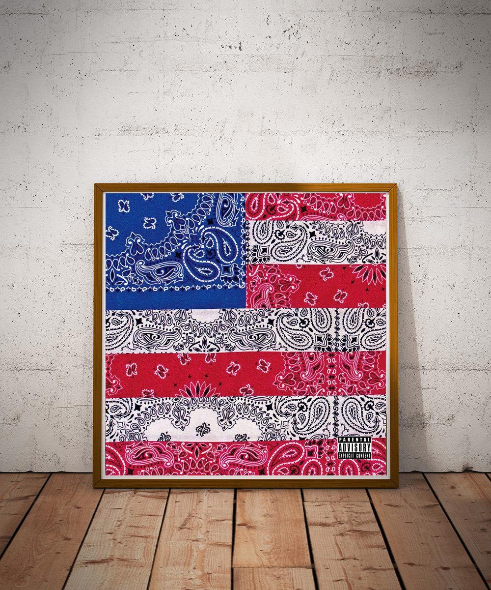 all amerikkkan badass bandanna flag poster hypebeast poster pop culture takeflight214