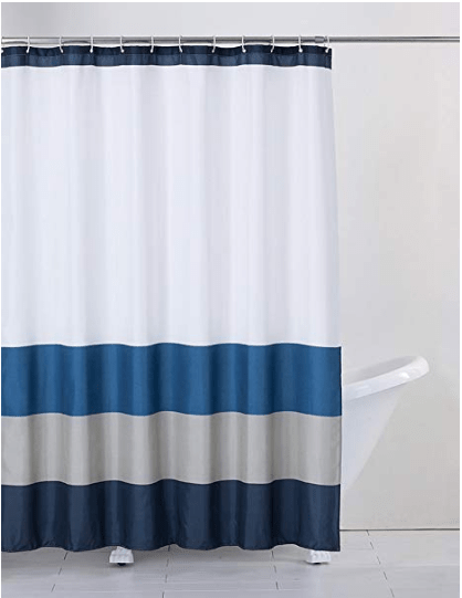 navy blue grey white shower curtain with hooks izabellascollections