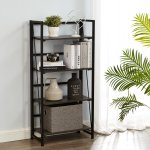 Inspirer Folding Bookshelf Rack 4 Tiers Bookcase Storage Rack