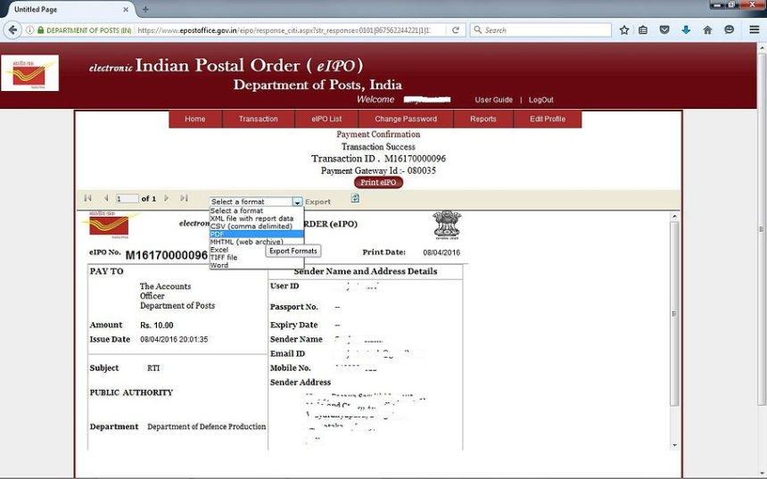 How to get Indian Postal Order Online - 10