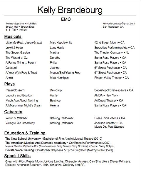 Musical Theatre Resume Format. Musical Theatre Resume Sample