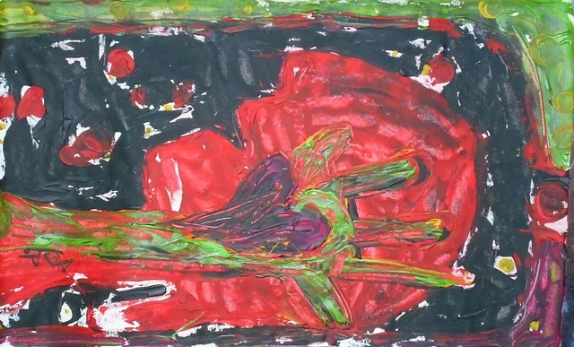 Weiss Herz Auf Schwarzem Hintergrund Acryl Malerei Lizenzfreie