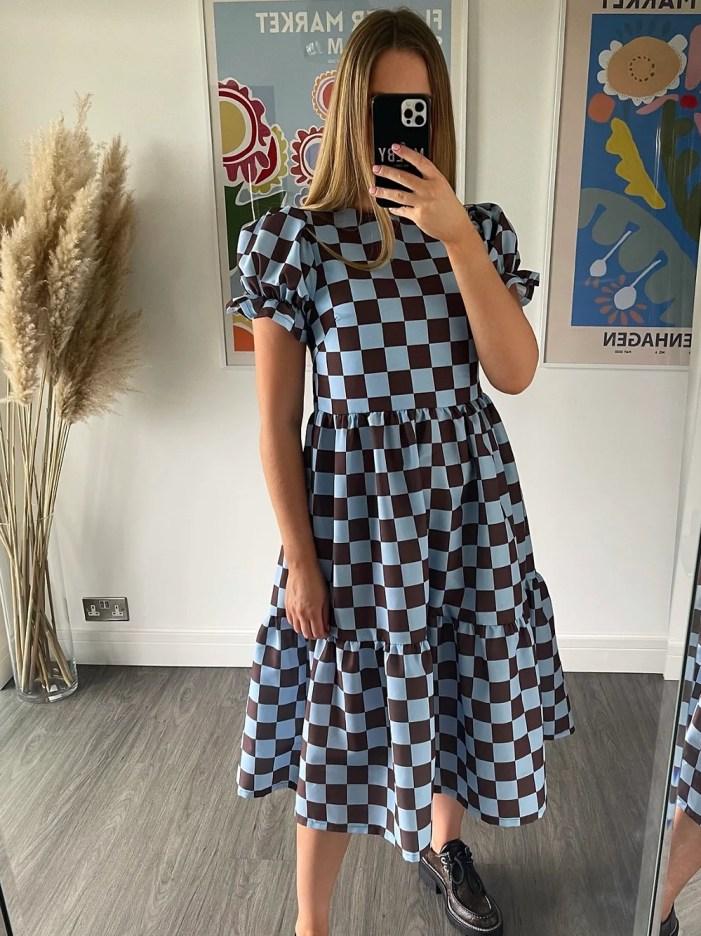 Alice Midi Dress - Brown & Blue molby
