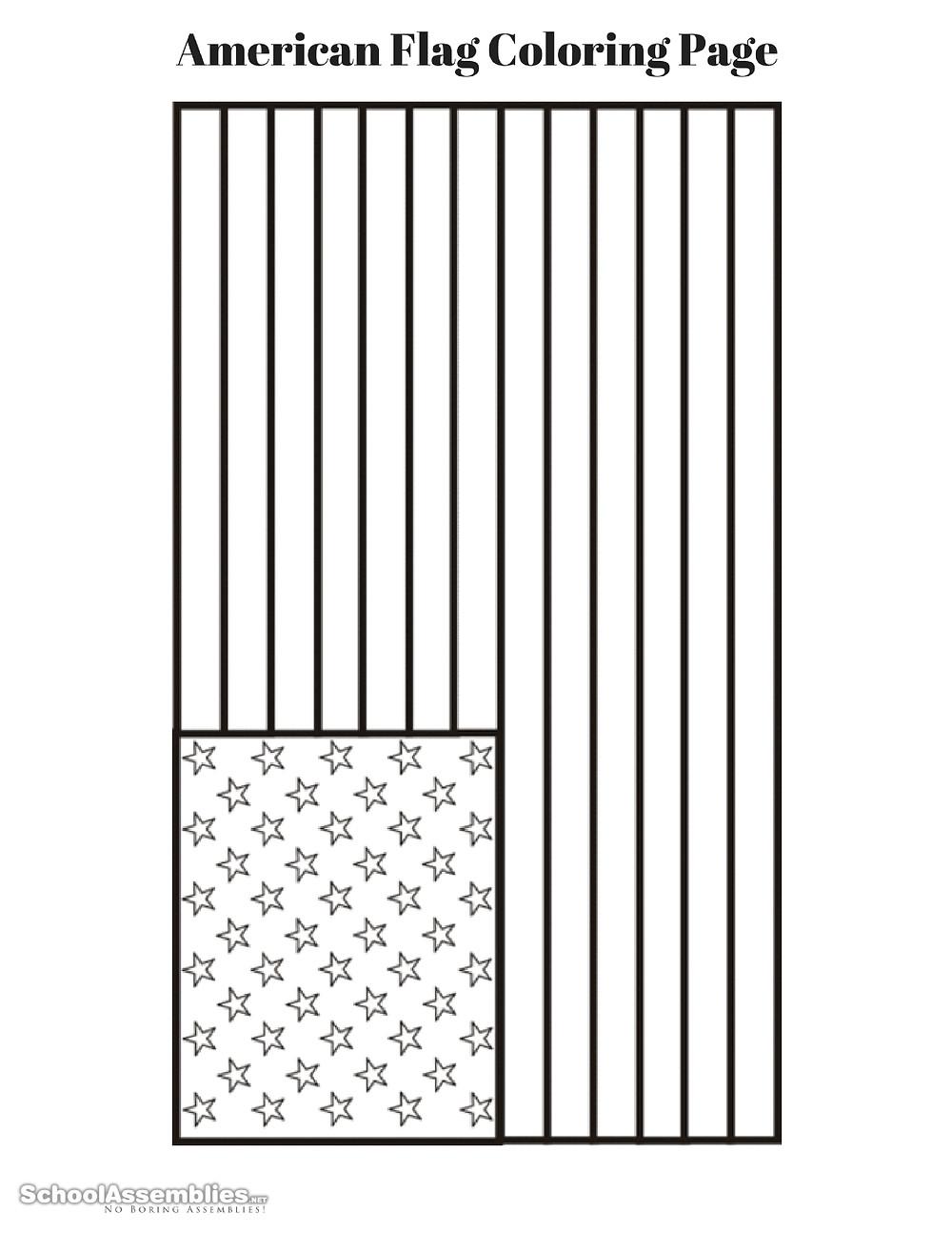 American Flag Coloring Page Free Printable