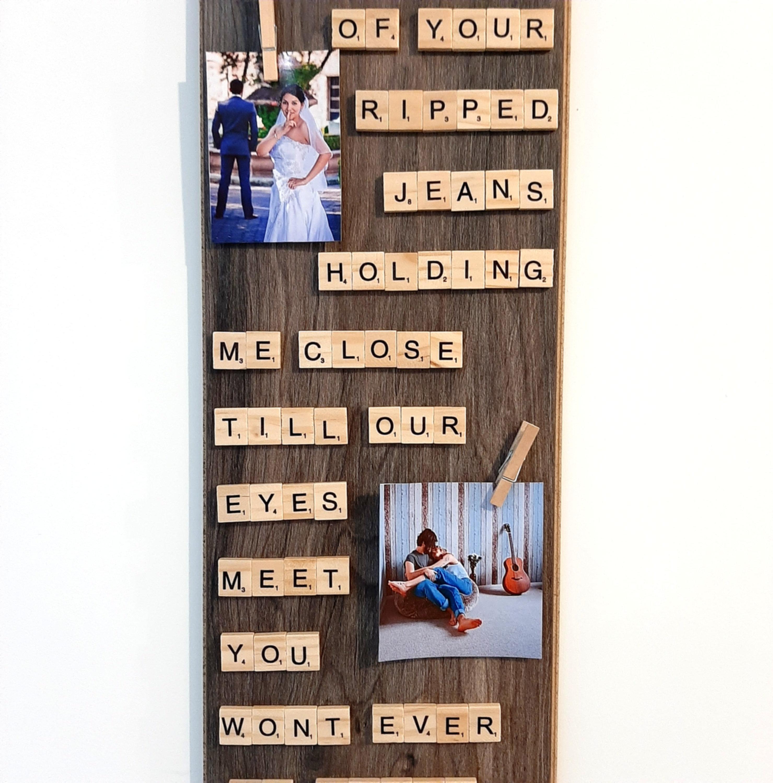 large scrabble tile art custom phrase text poem custom frame your photos printed mlconcepts