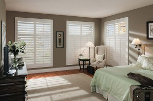 White Large Plantation Shutters Bedroom