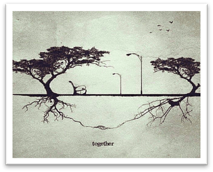 together from a forlorn love letter tree roots entwined underground