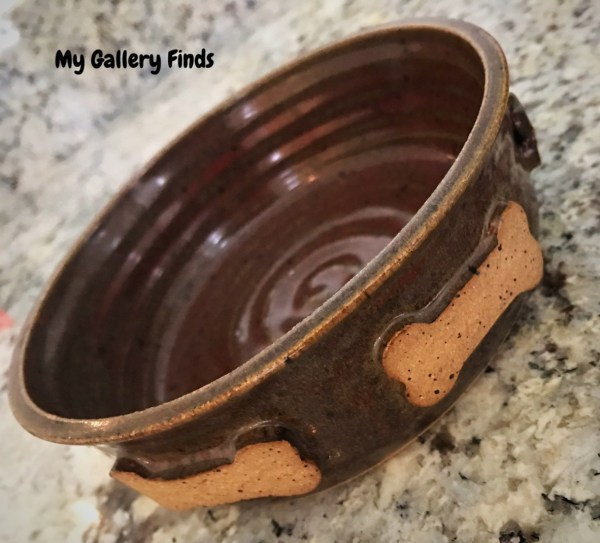 cash mob finds at the ricky evans gallery in southport nc pottery dog bowl with bones