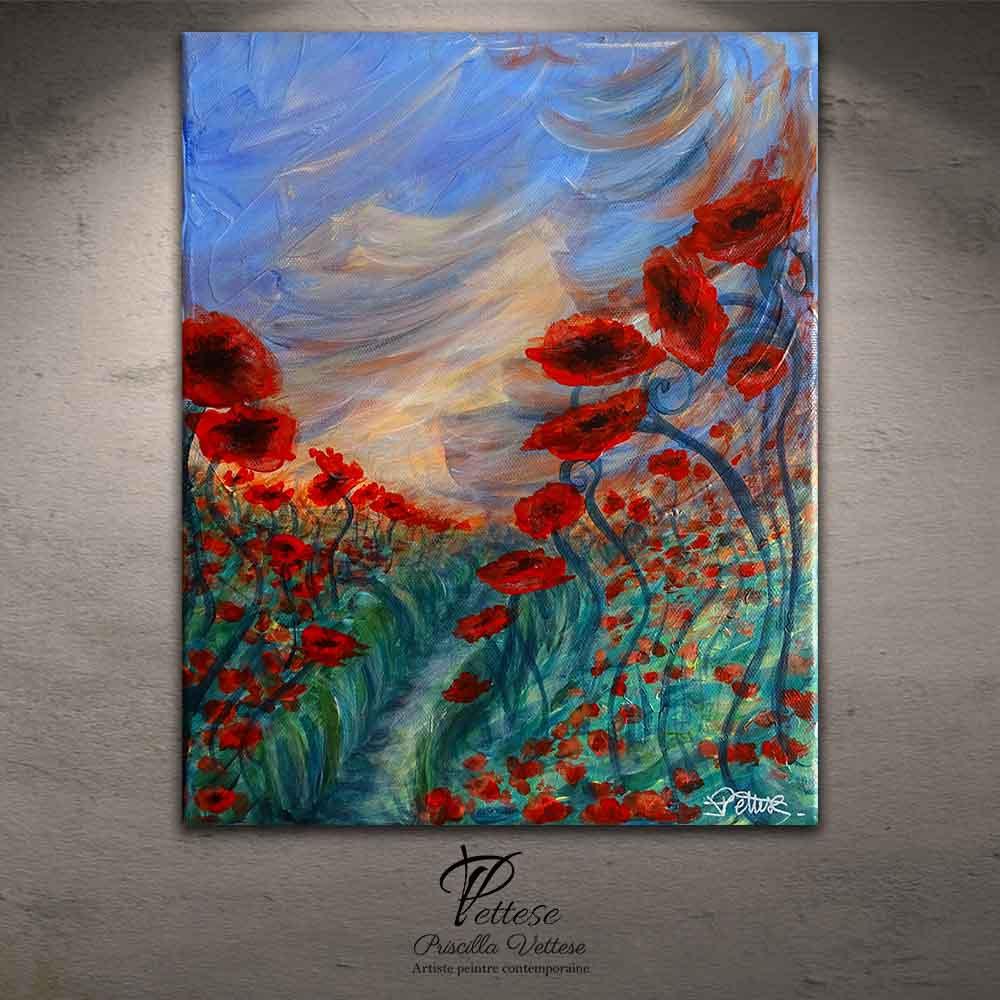 tableau contemporain de fleurs brise crepusculaire
