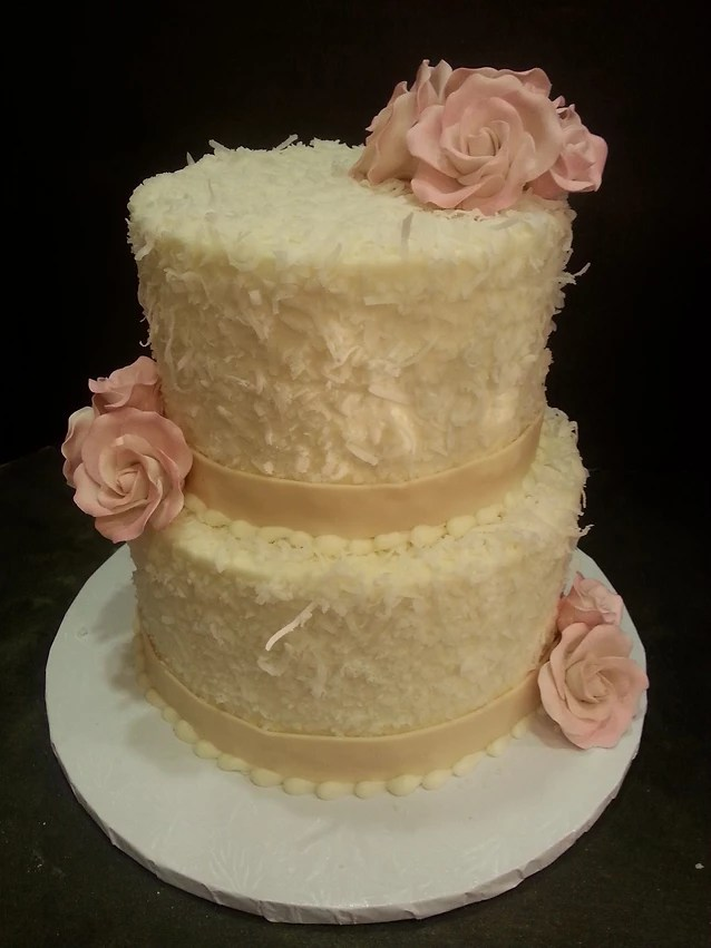 Custom Cakes   Cupcakes   Cookies   Irving   Outta The Oven Coconut wedding cake
