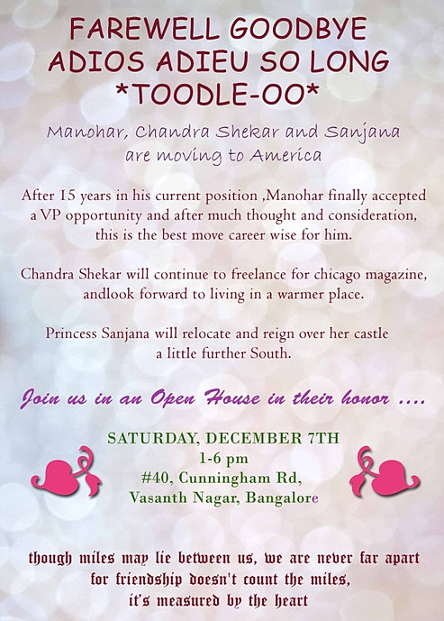 Indian Style Farewell GoodBye Sendoff Party Invitation