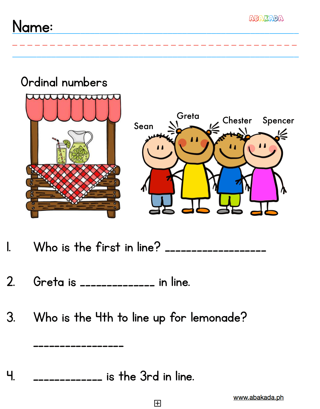 Free Ordinal Numbers Worksheets For Preschool And Grade 1