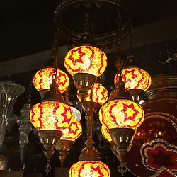 Mosaic Chandelier 9 Lamps Yellow