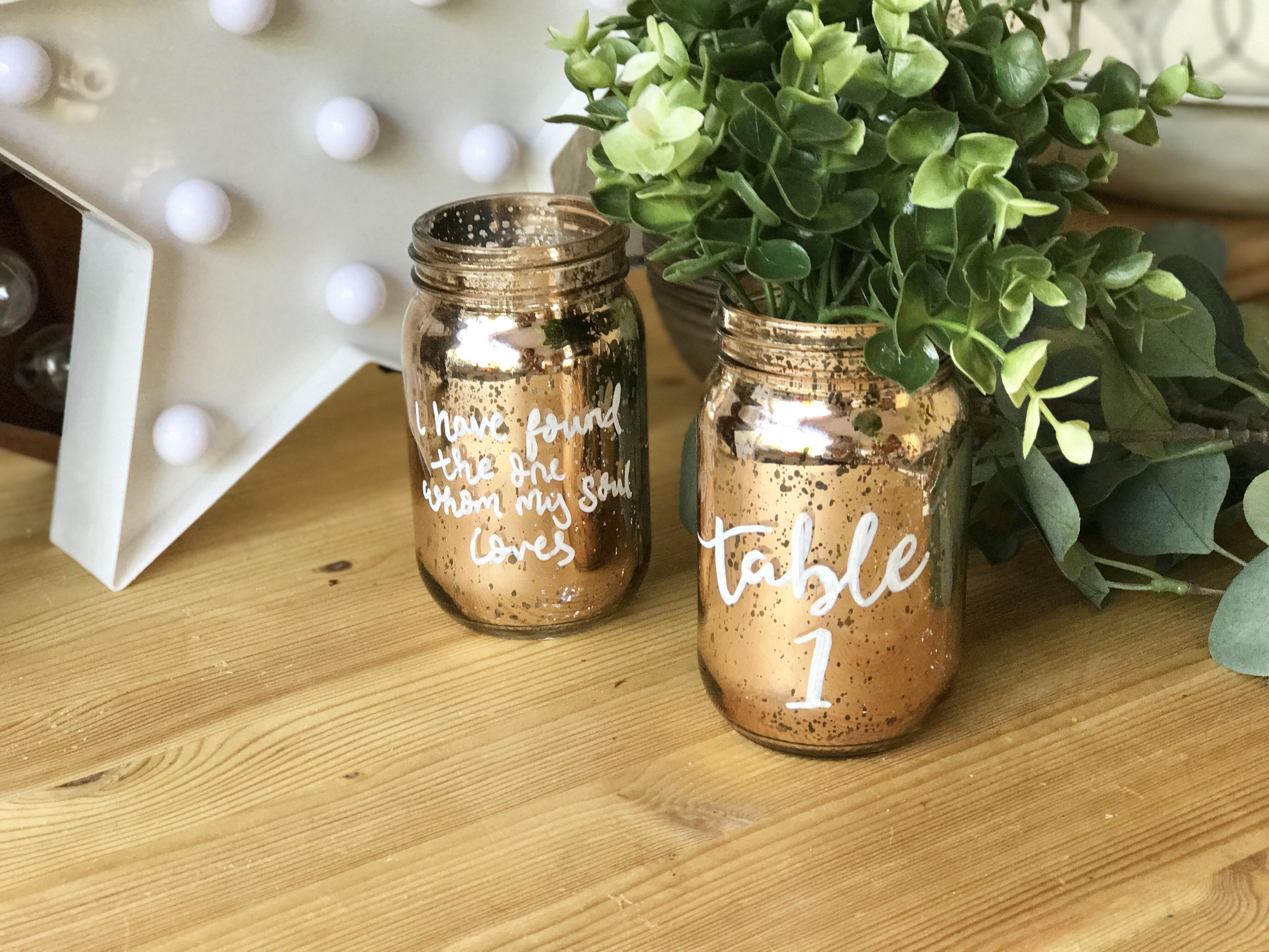 Diy Metallic Jar Table Numbers