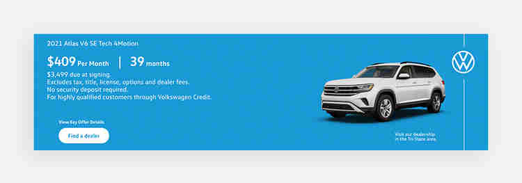Display ad call-to-action examples from Volkswagen