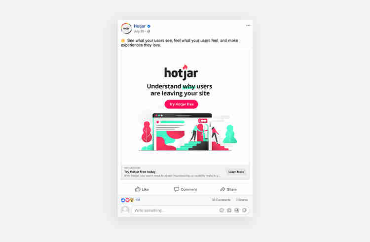 Facebook ad call-to-action examples Hotjar