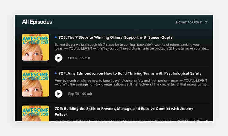 Podcast title examples from How To Be Awesome at Your Job podcast