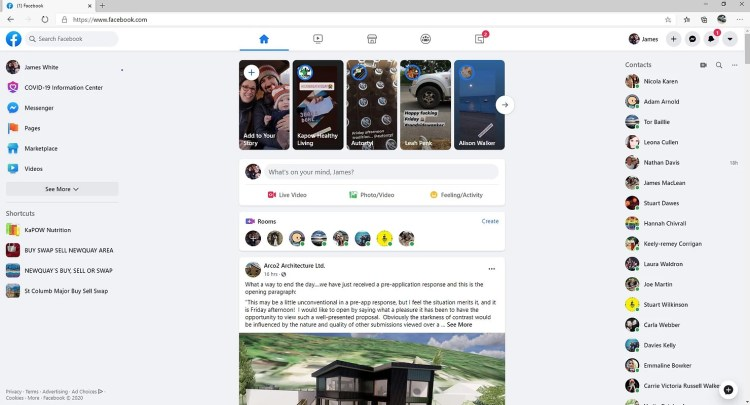 The new layout of Facebook on Desktop