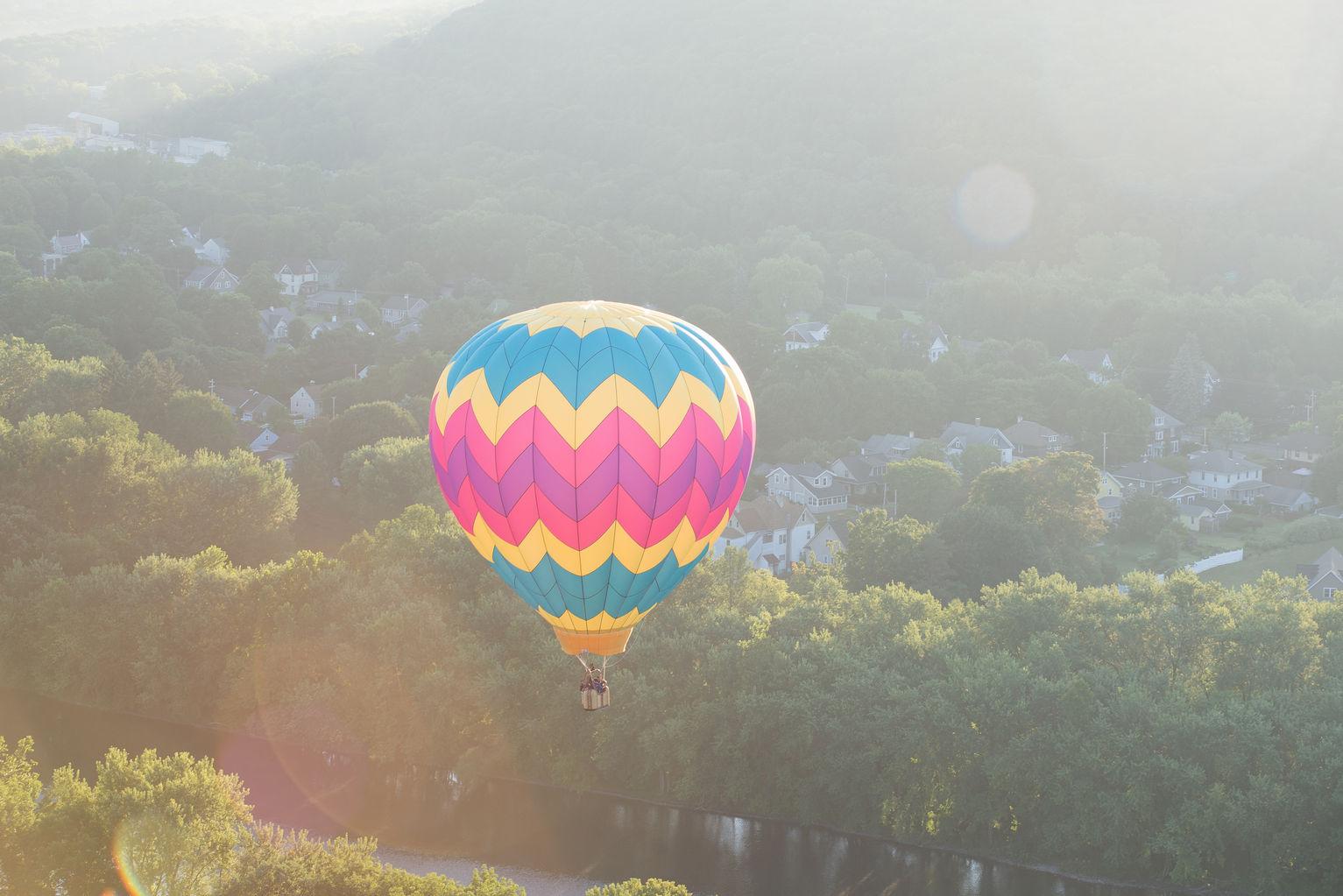 Hot air balloon ride at spiedie festival in binghamton new york