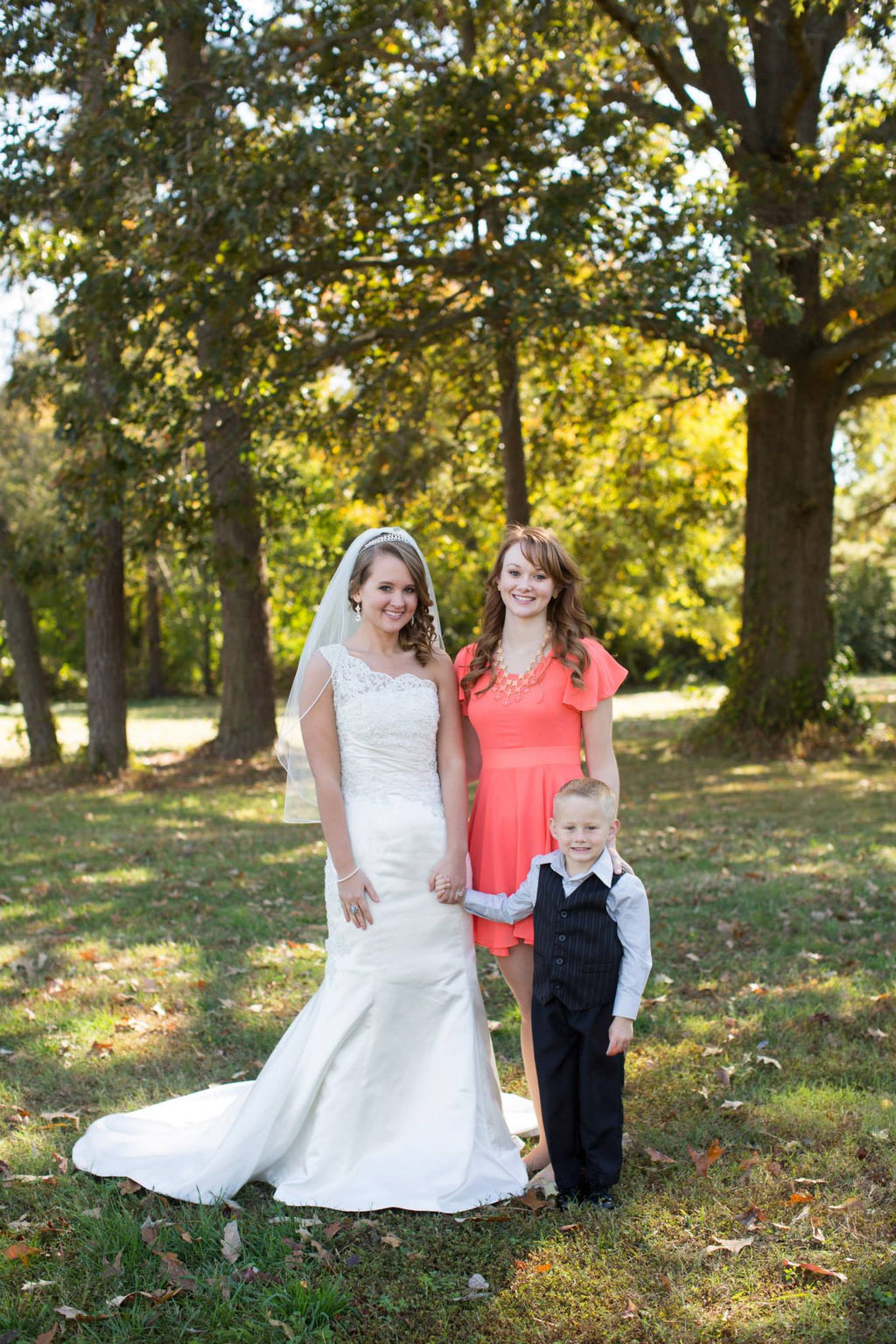 Wedding day portraits with ring bearer