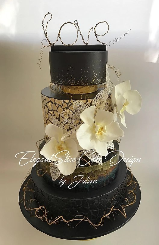 1028 Black and Gold Wedding Cake Black and Gold Wedding Cake     1028 Black and Gold Wedding Cake