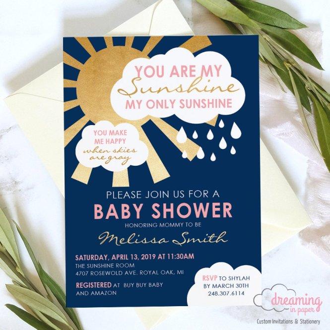 You Are My Sunshine Baby Shower Invitation