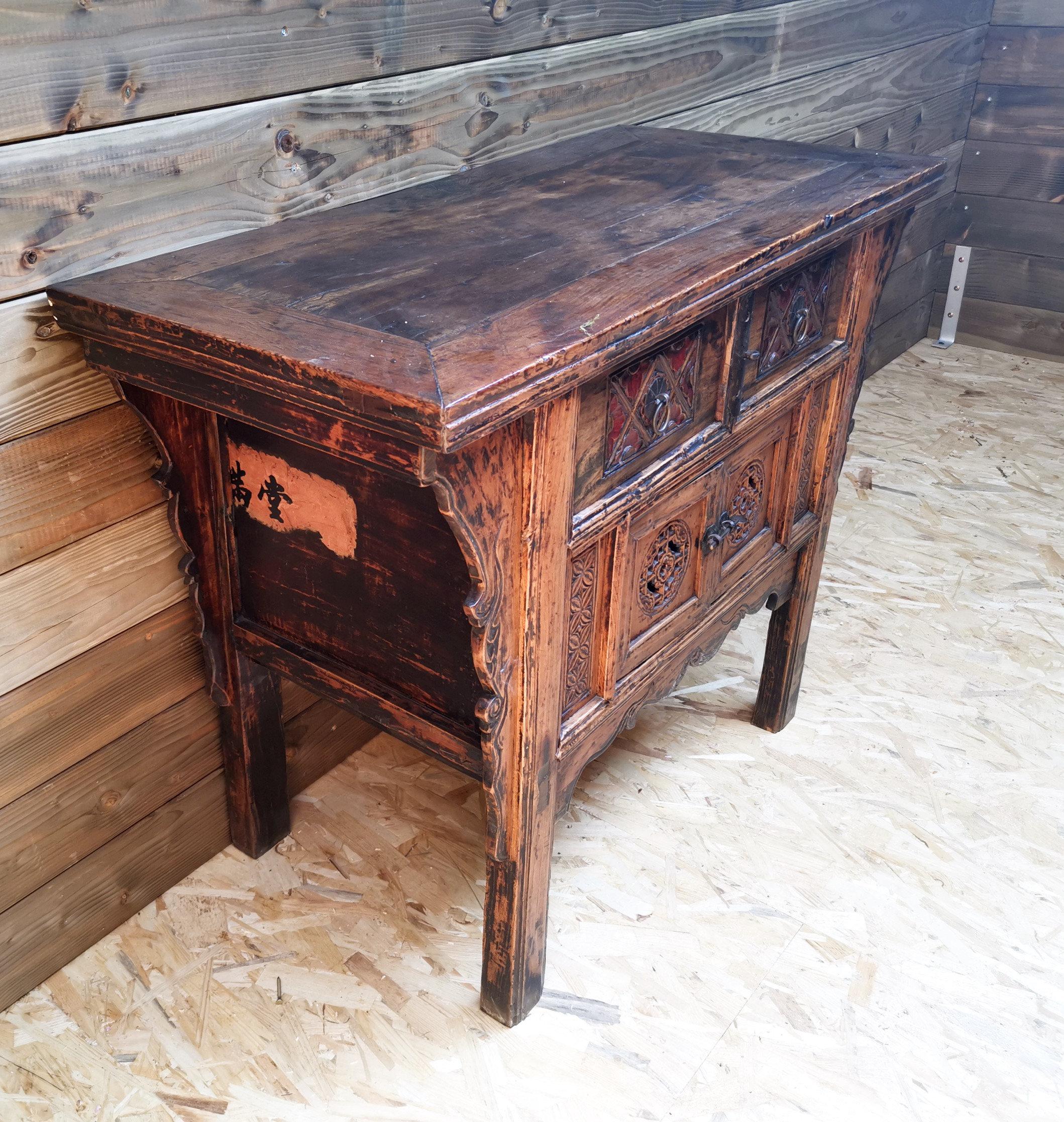 meuble chinois d entree ancien sculpte mask brocante