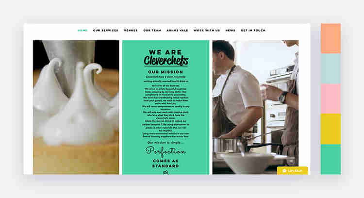 cheerful website color scheme by clever chefs