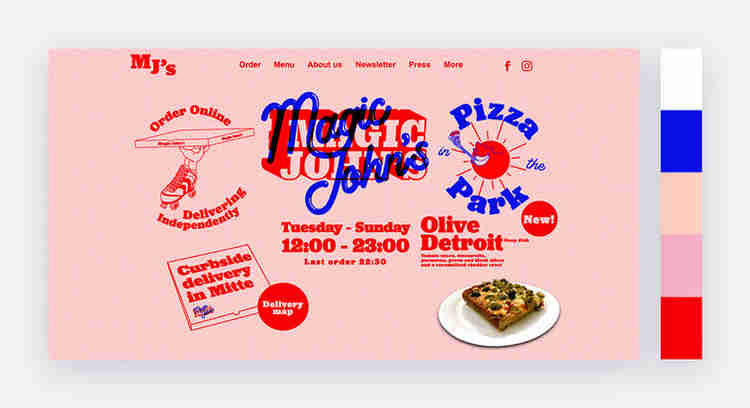 bright website color scheme with red blue pink and white