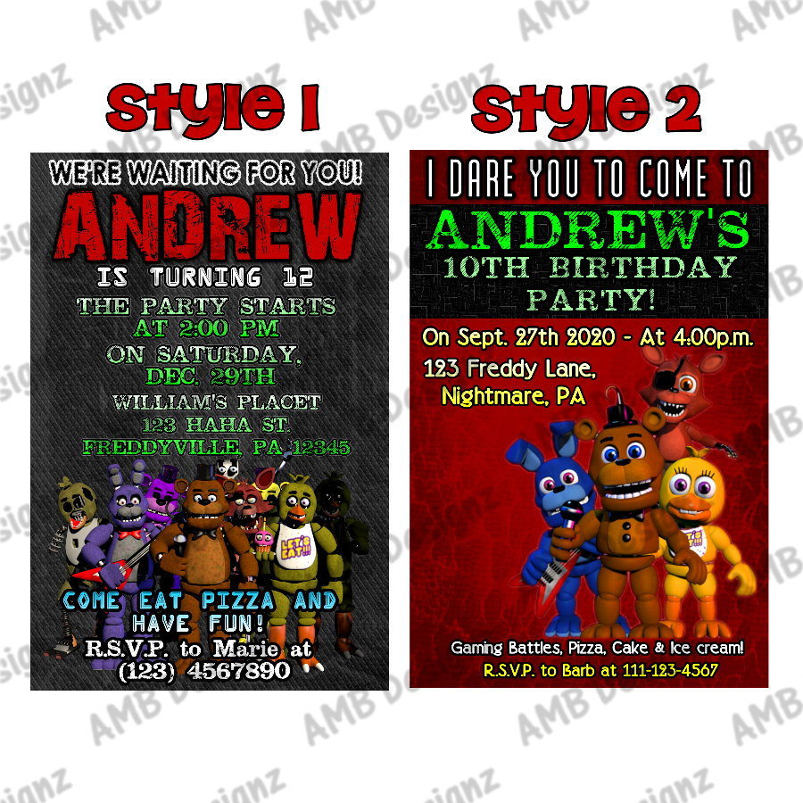 five nights at freddy s fnaf invitations fnaf party supplies