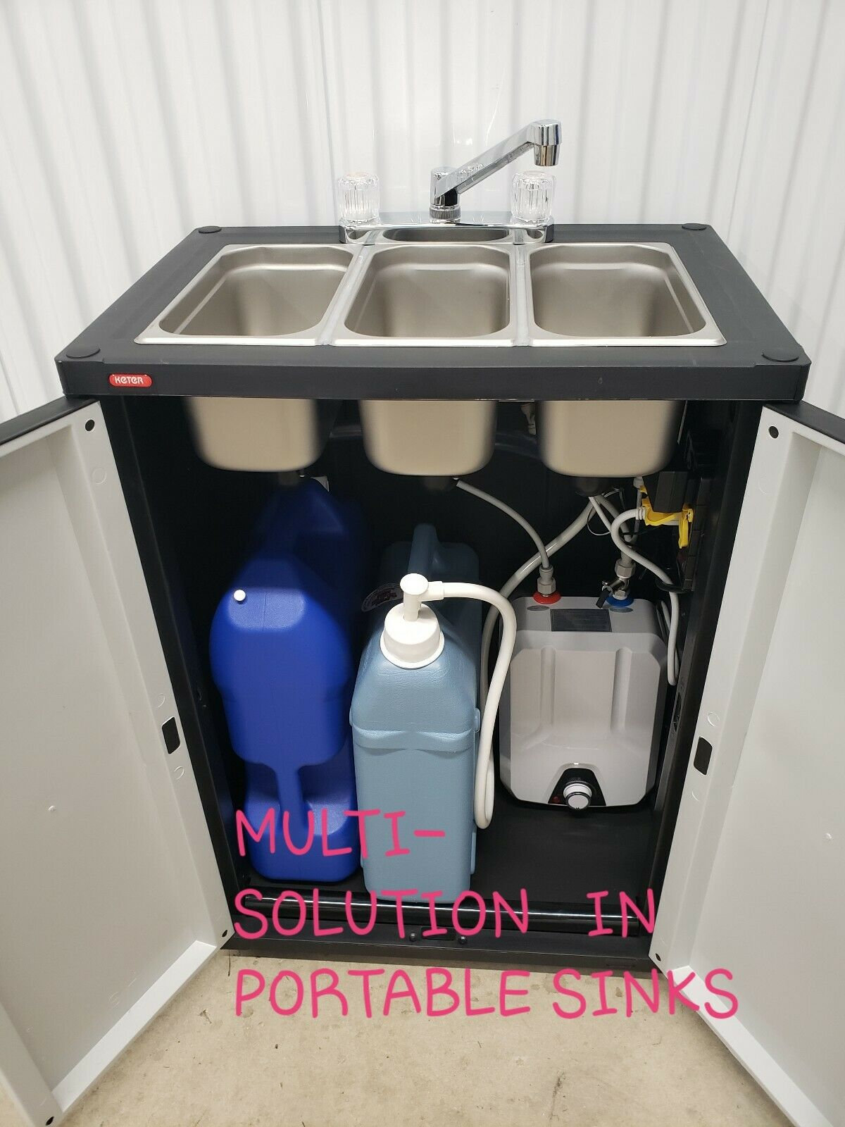 portable nsf sink mobile self contained hot water concession three compartment idealfoodequipment