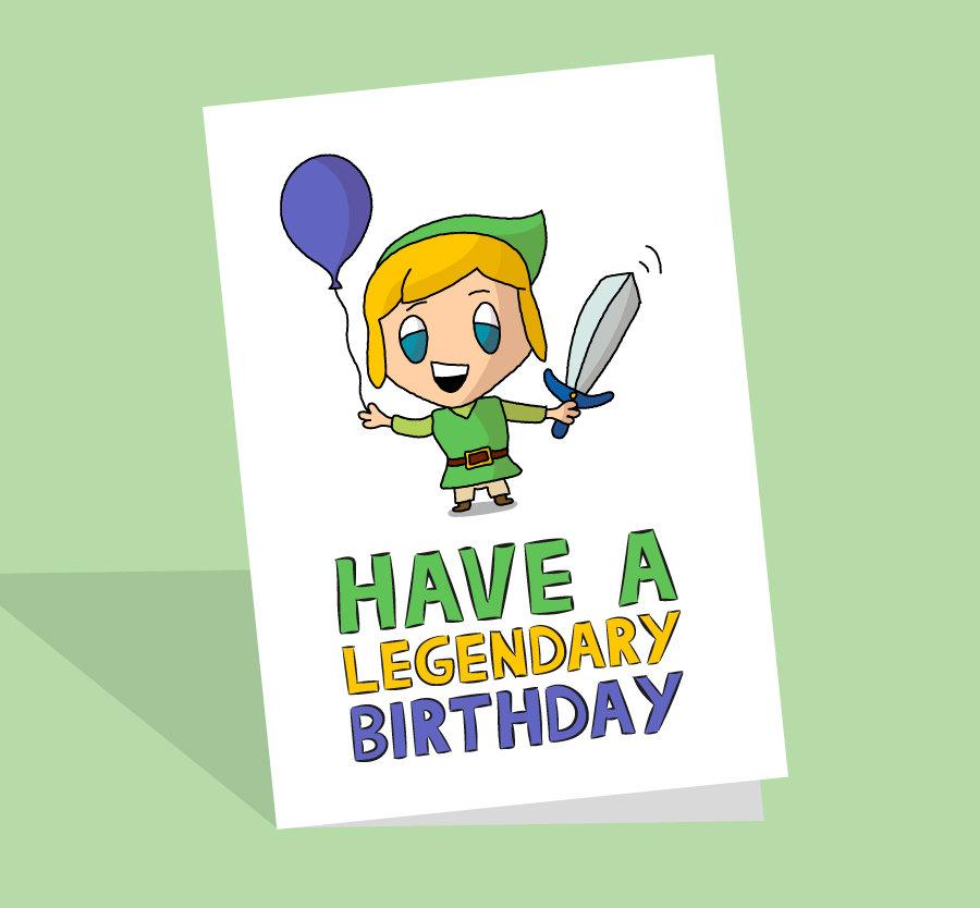 Cute Legend Of Zelda Birthday Card Plant Based Cards
