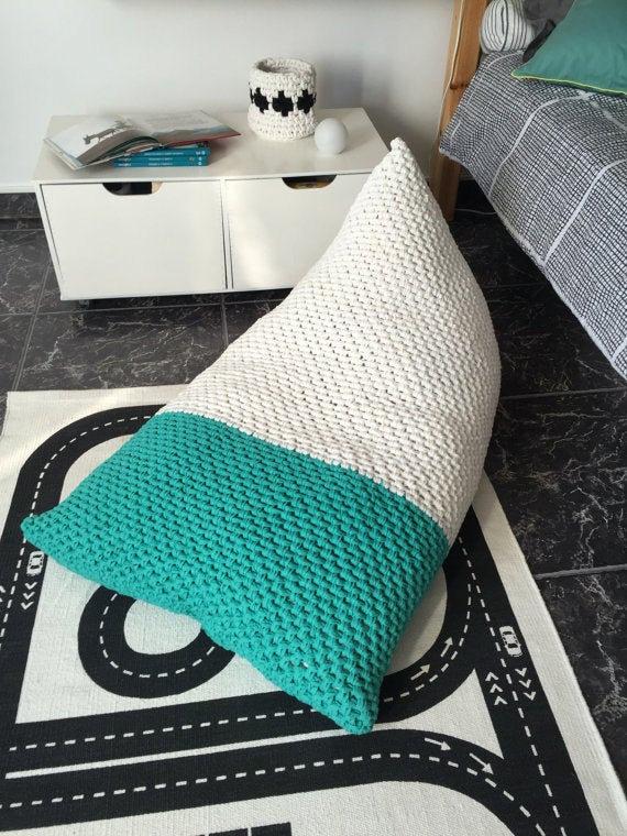giant knit bean bag chair lounger floor pillow looping home shop