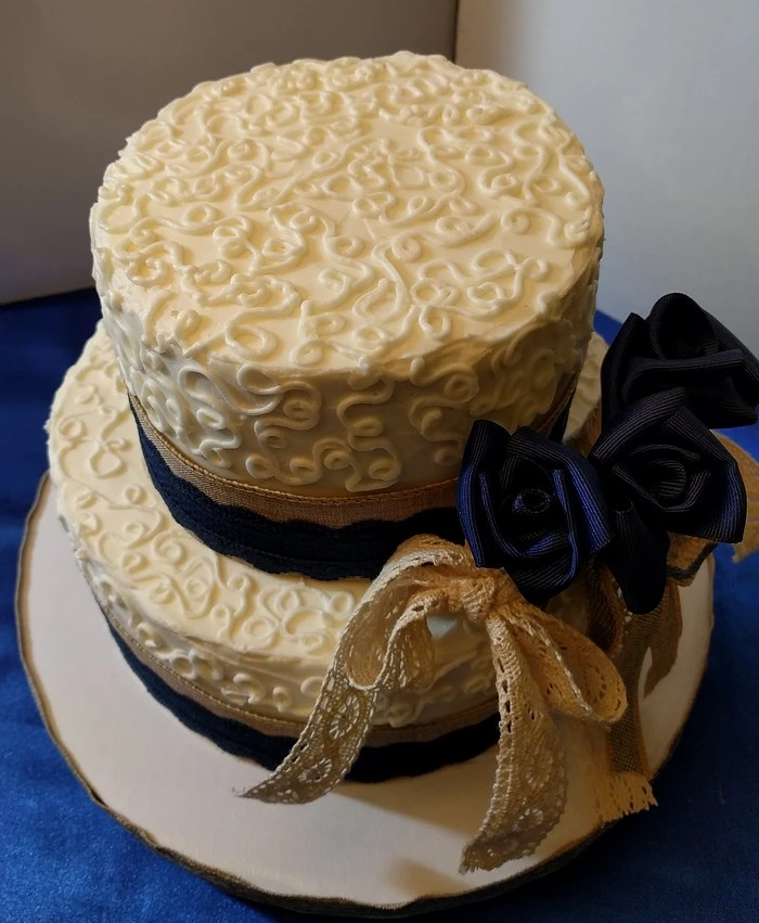 Just a Piece of Cake  LLC Weddings   Showers Burlap and Lace bridal shower cake