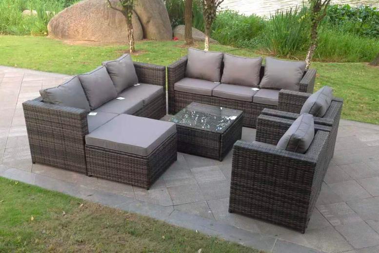 9 seater rattan garden furniture set mixed grey