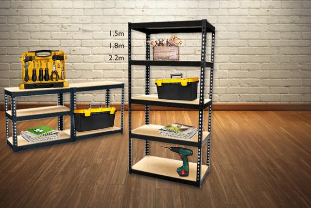 Heavy Duty 5-Tier Garage Shelving Unit & Bench