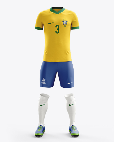 Download Football Kit with V-Neck T-Shirt Mockup / Front View in ...