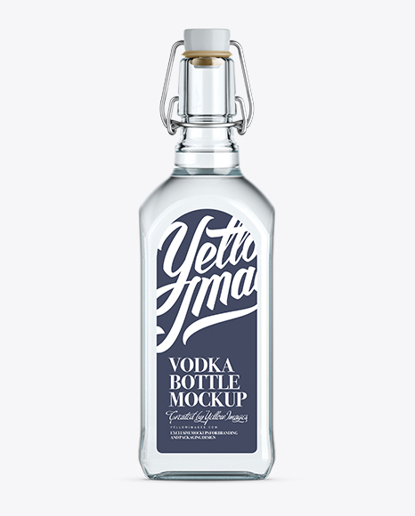 Vodka Bottle Mockup W/ Flip-Top Cap - Front View Packaging Mockups