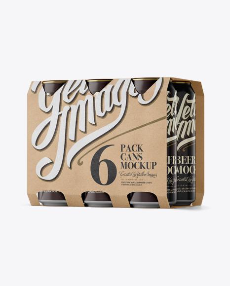 Kraft 6 Pack Cans Mockup - Halfside View (Eye-Level Shot) Packaging Mockups