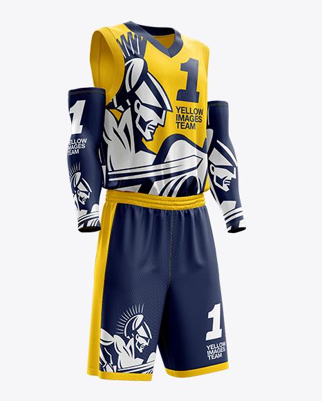 Download Men's Full Basketball Kit with V-Neck Jersey Mockup (Hero ...