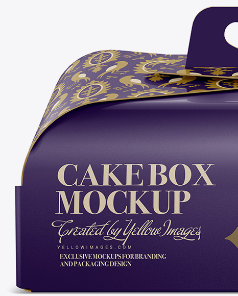 Download Cake Box - Front View in Box Mockups on Yellow Images ...